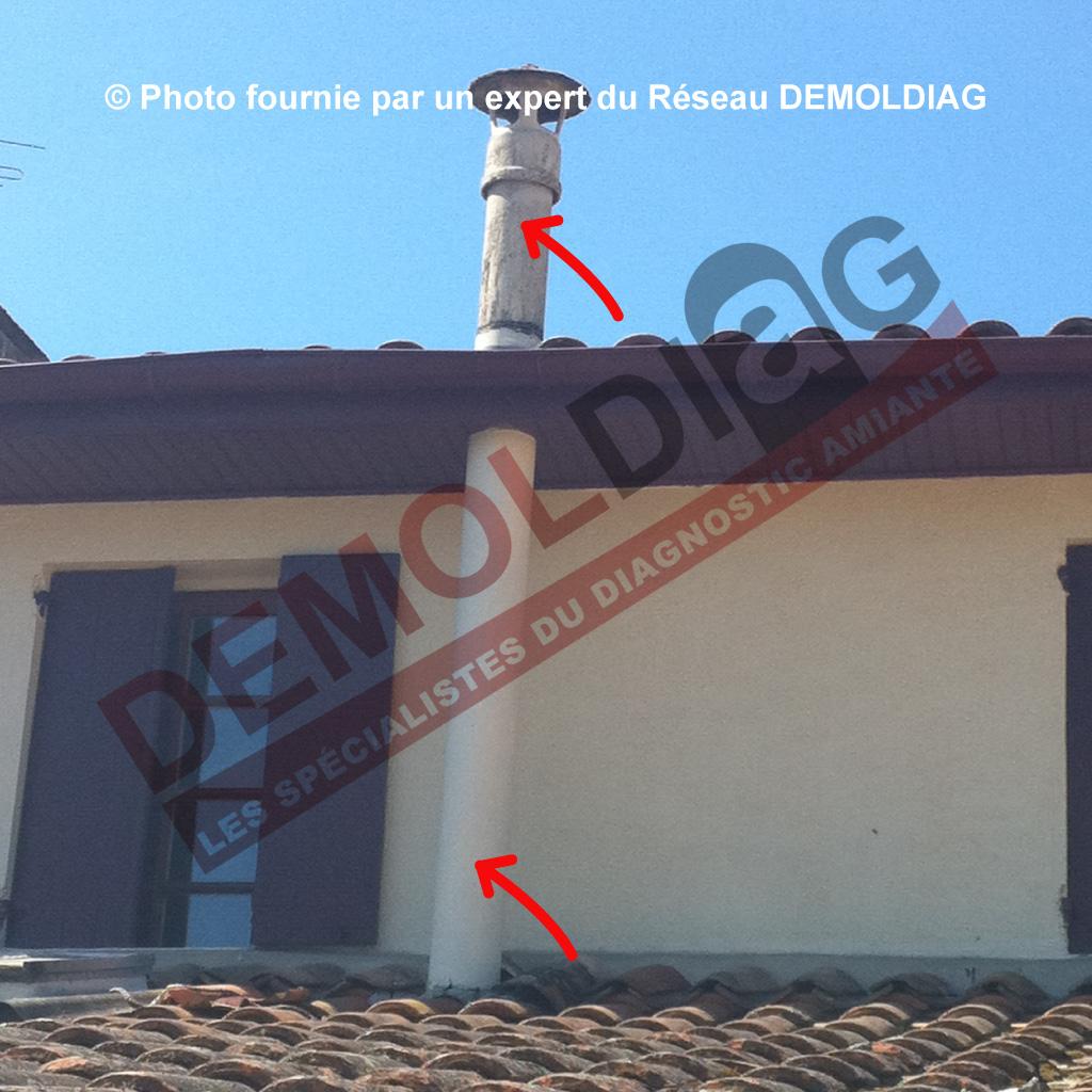 Conduit de fumée en amiante-ciment (façade-toiture)- chaudière gaz