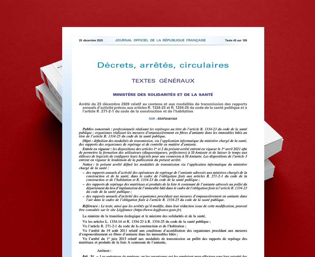 Arrêté du 23 décembre 2020 modalités de transmission des rapports annuels d'activité